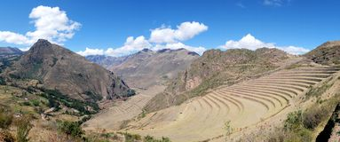 Peru, Pisac Pisaq - Inca ruins in the sacred valley in the Peruvian Andes royalty free stock photos