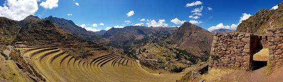 Peru, Pisac Pisaq - Inca ruins in the sacred valley in the Peruvian Andes royalty free stock photography