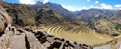 Peru, Pisac Pisaq - Inca ruins in the sacred valley in the Peruvian Andes stock photos