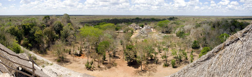 Panoramic view of ancient maya city of Ek Balam Royalty Free Stock Images