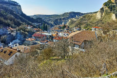 Panoramic view of ancient Melnik town and The sand pyramids, Bulgaria Stock Photos