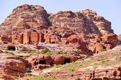 Panoramic View of Ancient Nabataean Tombs in Petra, Jordan stock photos