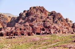 Panoramic View Ancient Nabataean Tombs in Petra, Jordan royalty free stock image