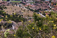Panoramic view of the ancient Roman theater of GubbioSuggerisci Stock Images