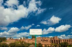 Palatine Imperial Palace ruins with clouds Royalty Free Stock Images