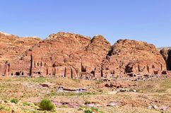 Panoramic View of Ancient Royal Tombs in Petra, Jordan royalty free stock photography