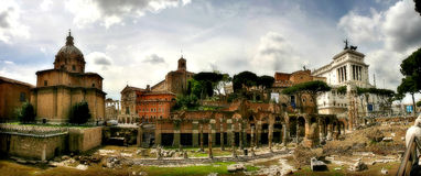 Panoramic view on ancient ruins in Rome, Italy. Stock Images