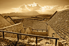 Panoramic view of ancient rural town in sepia Stock Photos