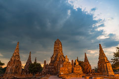 Panoramic view on ancient temple. Wat Chai Wattanaram, Thailand Royalty Free Stock Image