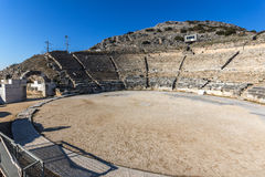 Panoramic view of Ancient Theater in the archeological area of Philippi, Greece Stock Images