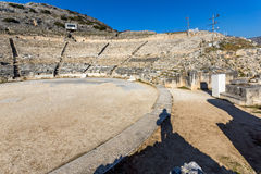 Panoramic view of Ancient Theater in the archeological area of Philippi, Greece Royalty Free Stock Photo