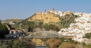 Panoramic view on ancient town Arcos de la Frontera, Spain stock video footage