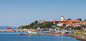 Panoramic view of ancient town on Black Sea coast. Nesebar Royalty Free Stock Photography
