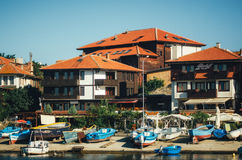 Panoramic view of ancient town of Nessebar from sea. Royalty Free Stock Photos