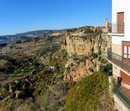 Panoramic view on Andalusian landscape from rocks of Ronda town, Spain Royalty Free Stock Image