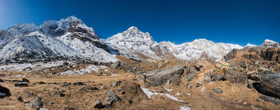 Panoramic view of Annapurna Range, Nepal. Panoramic view of Himchuli, Annapurna South and Annapurna I, Annapurna Range from Annapurna Base Camp, Nepal Stock Photo