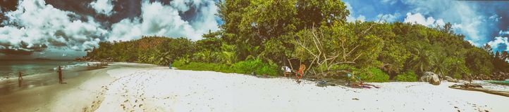 Panoramic view of Anse Georgette, Praslin - Seychelles royalty free stock photography