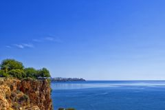 Panoramic view on Antalya city and Mediterranean Sea from the Beach park. Antalya, Turkey Royalty Free Stock Photo