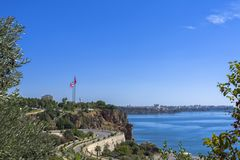 Panoramic view on Antalya city and Mediterranean Sea from the Beach park. Antalya, Turkey Stock Photography