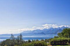 Panoramic view on Antalya mountains and Mediterranean Sea from the Beach park. Antalya, Turkey Royalty Free Stock Photography