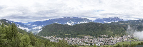 Panoramic view of Aprica town and the Bergamasque Alps Royalty Free Stock Photography