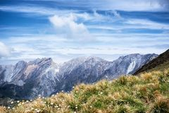 Panoramic view of Apuan alps. Italian mountains Royalty Free Stock Photography