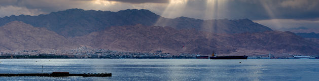 Panoramic view on the Aqaba gulf at cloudy day Royalty Free Stock Photos