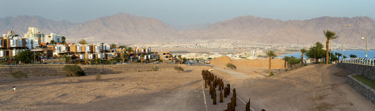Panoramic view on the Aqaba gulf from dry river, Eilat, Israel Royalty Free Stock Photography