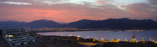 Panoramic view on Aqaba gulf from Eilat, Israel Royalty Free Stock Photos