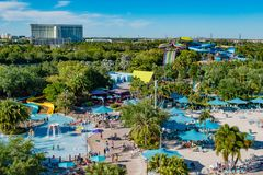 Panoramic view of Aquatica water park and Hilton Hotel at International Drive area . Orlando, Florida. April 20, 2019. Panoramic view of Aquatica water park and royalty free stock photography