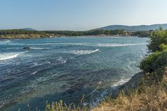 Panoramic view of Arapya Beach near town of Tsarevo, Bulgaria. Panoramic view of Arapya Beach near town of Tsarevo, Burgas Region, Bulgaria Stock Photo