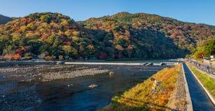 Panoramic view of Arashiyama in autumn season. Panoramic view of Arashiyama in autumn season, Kyoto, Japan Royalty Free Stock Photography