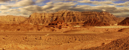 Panoramic view on Arava desert. Royalty Free Stock Photo