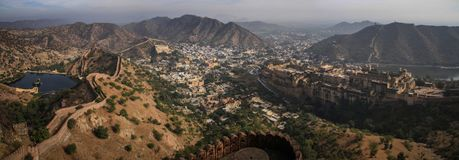 Panoramic view of the Aravalli Hills, Amer, and the Amer Fort from Nahargarh Fort, Jaipur, Rajasthan, India. Nahargarh Fort stands on the edge of the Aravalli Stock Photography