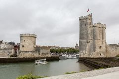 La Rochelle two towers, France. Panoramic view of the arbor of La Rochelle city in France Royalty Free Stock Photography