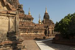 Facade of a temple, Bagan. Panoramic View of the archaeological park of the ancient temples and pagodas of Bagan. Myanmar stock photography