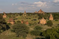 Temples and pagodas of Bagan. Panoramic View of the archaeological park of the ancient temples and pagodas of Bagan. Myanmar stock images