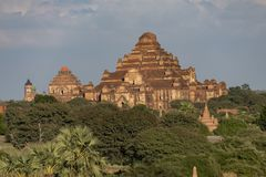 Temples and pagodas of Bagan. Panoramic View of the archaeological park of the ancient temples and pagodas of Bagan. Myanmar stock image