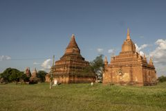 Temples and pagodas of Bagan. Panoramic View of the archaeological park of the ancient temples and pagodas of Bagan. Myanmar stock photos