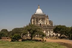 View of Thatbyinnyu Temple, Bagan. Panoramic View of the archaeological park of the ancient temples and pagodas of Bagan. Myanmar stock photography
