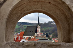 Panoramic view from arched window, Cesky Krumlov, Czech Republic. Stock Photo