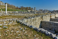 Panoramic view of archeological area of ancient Philippi, Greece Stock Image
