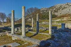 Panoramic view of archeological area of ancient Philippi, Greece Stock Photo
