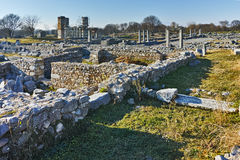 Panoramic view of archeological area of ancient Philippi, Greece Royalty Free Stock Images