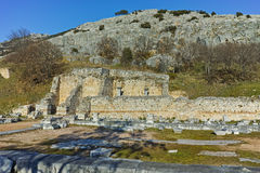 Panoramic view of archeological area of ancient Philippi, Greece Royalty Free Stock Photos