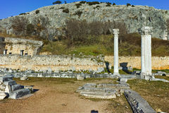 Panoramic view of archeological area of ancient Philippi,  Greece Royalty Free Stock Photography