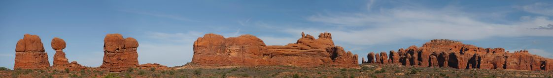 Panoramic view of Arches National Park Royalty Free Stock Image