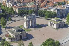 Arco della Pace in Milan. Panoramic view of the Arco della Pace in Milan - Italy Royalty Free Stock Photos