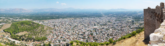 Panoramic view of Argos. Town  of Argos and hill of Aspida , panoramic view from Larissa hill Stock Photo