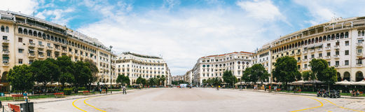 Panoramic view on the Aristotelous Square. Royalty Free Stock Image